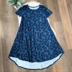 LULAROE Carly Dress Short Sleeve Blue Floral Sz S
